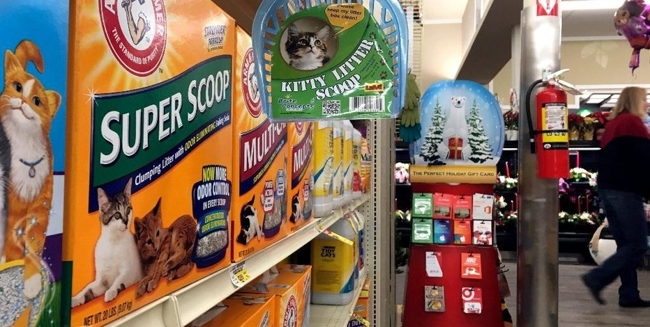 In this Dec. 16, 2016, photo, kitty litter products are displayed at a local store in Cheyenne, Wyo. The market for a peculiar type of clay mined in Wyoming is looking up, thanks to a better outlook for oil and gas drilling and to kitty litter. (AP Photo/Mead Gruver)