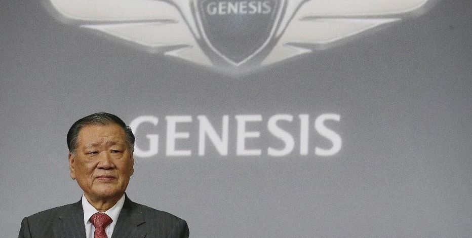 FILE - In this Wednesday, Dec. 9, 2015 file photo, Hyundai Motor Co. Chairman Chung Mong-koo attends a press unveiling of Genesis' new model EQ900 in Seoul, South Korea. Chiefs of Samsung Electronics and Hyundai Motor say their businesses face increased uncertainties due to growing protectionism. (AP Photo/Ahn Young-joon, Pool, File)
