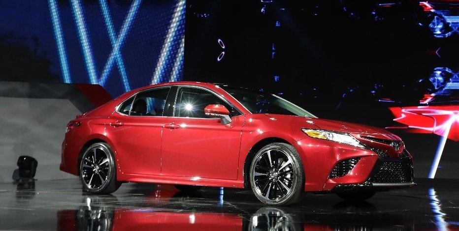 The 2018 Toyota Camry is presented at the North American International Auto show, Monday, Jan. 9, 2017, in Detroit. (AP Photo/Carlos Osorio)