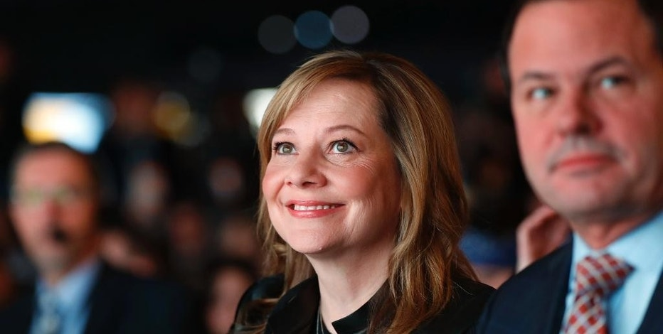 Mary Barra, General Motors Chairman and Chief Executive Officer, watches the debut of the 2018 Chevrolet Traverse at the North American International Auto Show in Detroit, Monday, Jan. 9, 2017. (AP Photo/Paul Sancya)