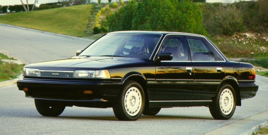 This photo provided by Toyota shows the 1987 Toyota Camry. In the first major redesign since it debuted in 1983, the 1987 Camry looked more upscale and offered a quieter, cushier ride. It was also longer and had more power. (Toyota via AP)