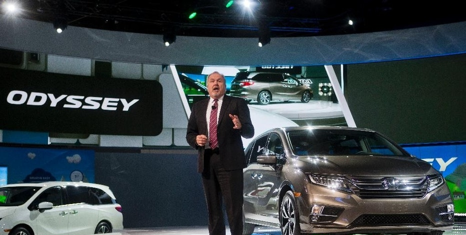 American Honda Executive Vice President John Mendel speaks about the new Honda Odyssey minivan at the North American International Auto Show, Monday, Jan. 9, 2017, in Detroit. (AP Photo/Tony Ding)