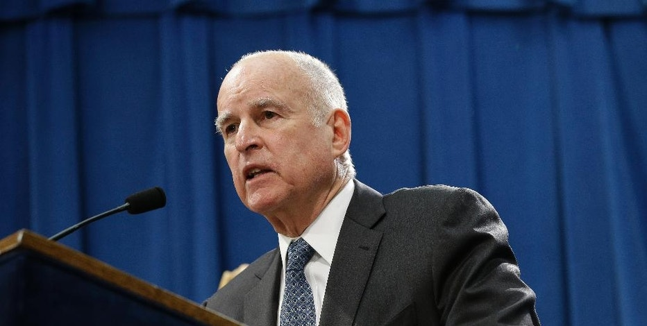 California Gov. Jerry Brown discusses his 2017-2018 state budget plan he released at a news conference Tuesday, Jan. 10, 2017, in Sacramento, Calif. (AP Photo/Rich Pedroncelli)