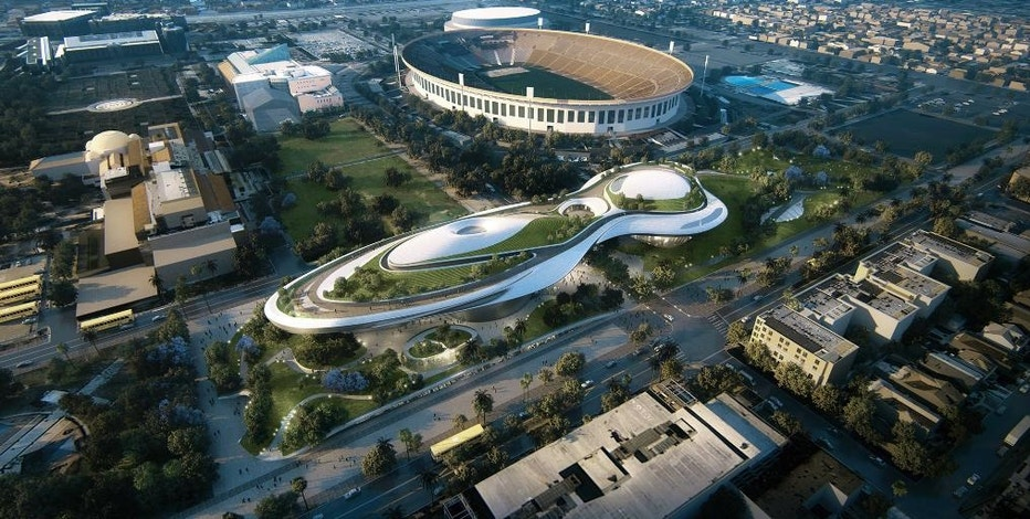 "FILE - This undated file concept design provided by the Lucas Museum of Narrative Art shows a rendering of their proposed museum, just west and north of the Coliseum in Exposition Park in Los Angeles. ""Star Wars"" creator George Lucas and his team announced Tuesday, Jan. 10, 2017, they have chosen Los Angeles over San Francisco as the home of the museum that will showcase his work. After what organizers called an extremely difficult decision, they announced Tuesday that the museum will be built in Exposition Park in Los Angeles, where it will sit alongside other more traditional museums. (Lucas Museum of Narrative Art via AP, File)"