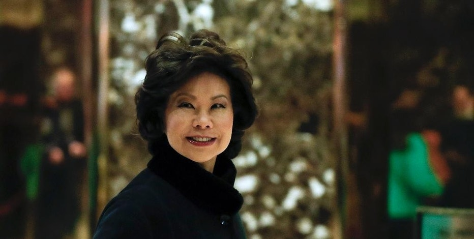 FILE - In this Nov. 21, 2016 file photo, Transportation Secretary-designate Elaine Chao arrives at Trump Tower in New York. Chao is facing questions from senators seeking insights into how the Trump administration plans to implement the president-elect's promise to generate $1 trillion in infrastructure spending and to regulate self-driving cars and drones, among other concerns. )AP Photo/Carolyn Kaster, File)