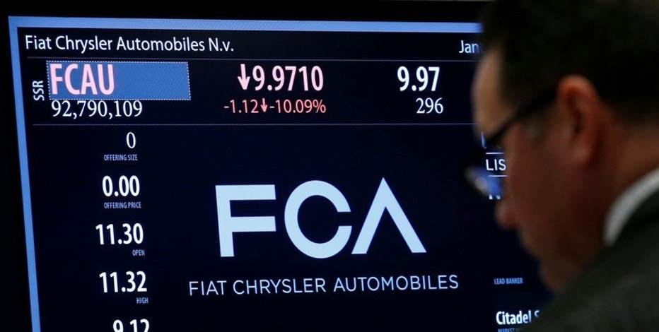 A screen displays the trading information for Fiat Chrysler Automobiles NV at the post where it's traded on the floor of the New York Stock Exchange (NYSE) in New York City, U.S., January 12, 2016.  REUTERS/Brendan McDermid