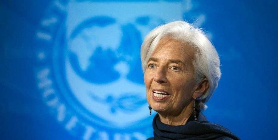 FILE - In this Monday, Dec. 19, 2016, file photo, International Monetary Fund Managing Director Christine Lagarde makes a statement at a news conference, in Washington. On Monday, Jan. 16, 2017, the IMF releases its latest forecast for the world economy. (AP Photo/Cliff Owen, File)
