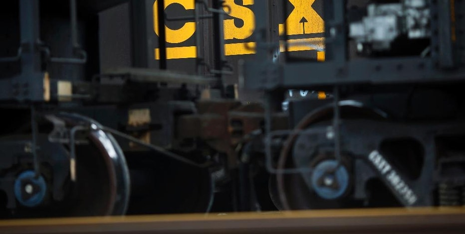 FILE - In this March 21, 2014, file photo, CSX hopper cars sit in a yard in Baltimore. CSX Corp. reports financial results on Tuesday, Jan. 17, 2017. (AP Photo/Patrick Semansky, File)