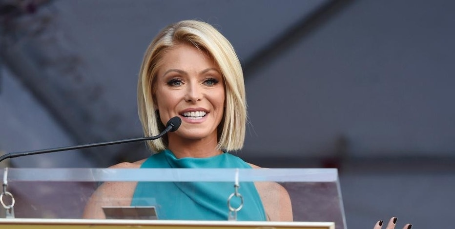 FILE - In this Oct. 12, 2015, file photo, Kelly Ripa addresses the crowd during a ceremony honoring her with a star on the Hollywood Walk of Fame in Los Angeles. Ripa, singer Wyclef Jean and soccer pro Carli Lloyd are among the 15 newest members of the New Jersey Hall of Fame, the group announced Tuesday, Jan. 17, 2017. (Photo by Chris Pizzello/Invision/AP, File)