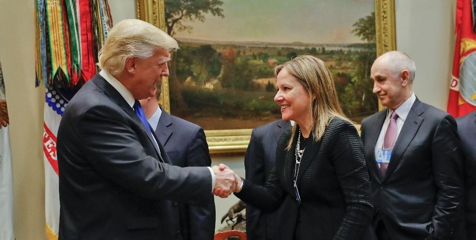 President Donald Trump greets GM CEO Mary Barra as he hosts a breakfast with automobile leaders in the Roosevelt Room of the White House in Washington, Tuesday, Jan. 24, 2017. (AP Photo/Pablo Martinez Monsivais)