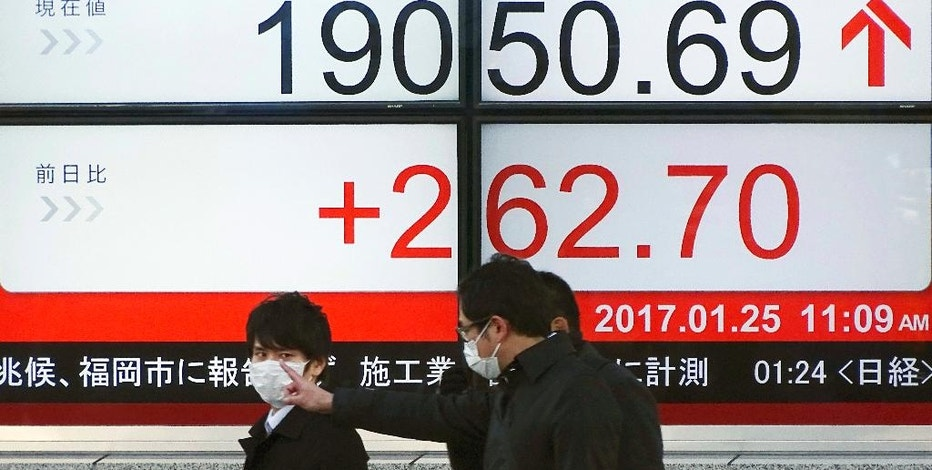 Men walk past an electronic stock board showing Japan's Nikkei 225 index at a securities firm in Tokyo, Wednesday, Jan. 25, 2017. Asian markets gained Wednesday, building on Wall Street's overnight rally. Shares in Japan rose on stronger-than-expected trade data and a weaker yen. (AP Photo/Eugene Hoshiko)