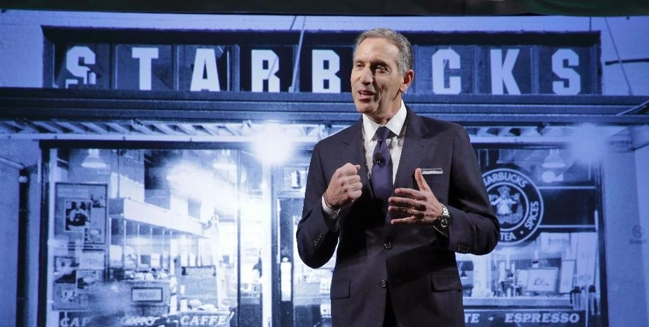 FILE - In this Wednesday, Dec. 7, 2016, file photo, Starbucks Chairman and CEO Howard Schultz presents during the Starbucks 2016 Investor Day meeting, in New York. Starbucks, which is adding foods to its menu and planning to boost its new locations, reports results for the fourth quarter, Thursday, Jan. 26, 2017. In April, Schultz is stepping down from his job as CEO and will move on to other projects with the company. (AP Photo/Richard Drew, File)