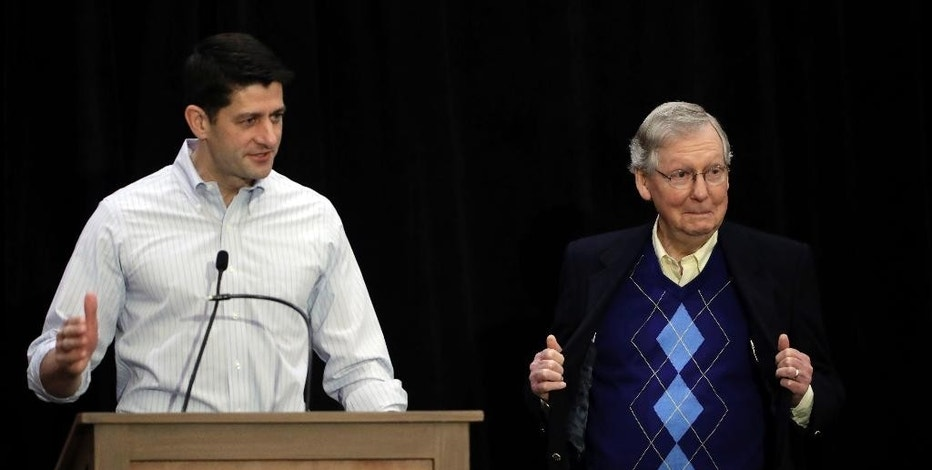In this Jan. 26, 2017, photo, Senate Majority Leader Mitch McConnell of Ky., right, and House Speaker Paul Ryan of Wis., speak during a news conference at the Republican congressional retreat in Philadelphia. Determined to reverse eight years of a Democratic administration, House Republicans are on track to overturn a handful of rules finalized in Barack Obama's final months that affect oil and gas companies, coal miners and federal contractors. (AP Photo/Matt Rourke)