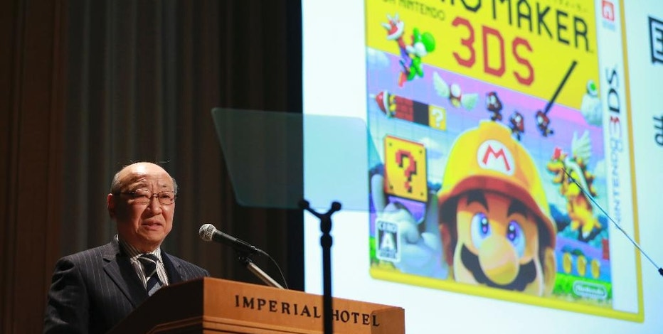 Japanese video game maker Nintendo Co. President Tatsumi Kimishima speaks during a news conference in Tokyo, Wednesday, Feb. 1, 2017. During the conference, Kimishima told reporters the game maker aims to sell 2 million Switch consoles in the first month after its launch on March 3. He said pre-orders were strong. (AP Photo/Eugene Hoshiko)