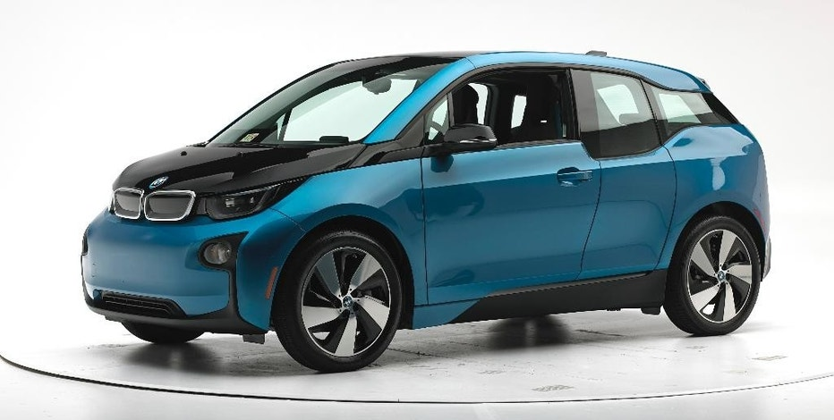 This Sept. 20, 2016, photo provided by the Insurance Institute for Highway Safety shows a 2017 BMW i3 before crash safety testing. The car earned good ratings in four out of five tests, but fell short of getting the highest safety rating in the newest crash tests administered by the insurance industry. (Matt Daly/Insurance Institute for Highway Safety via AP)