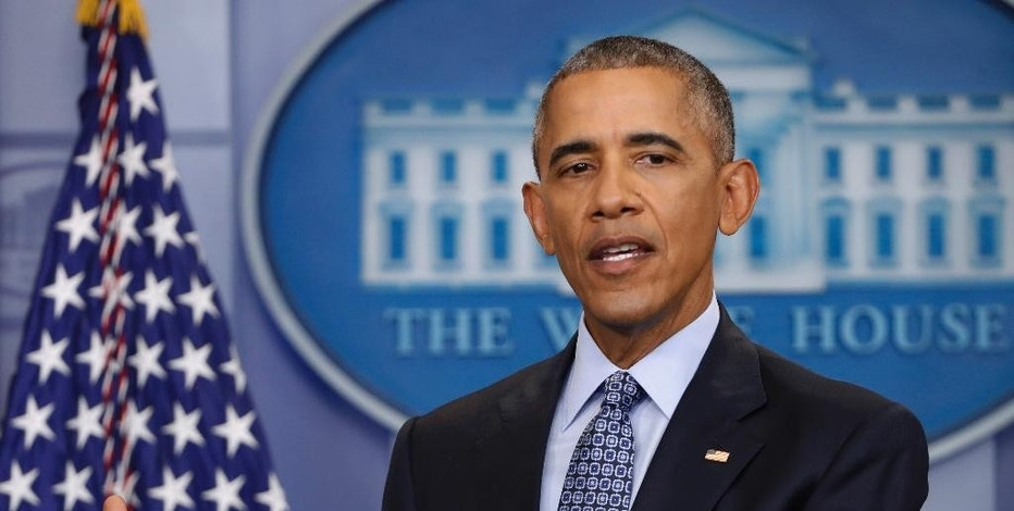 FILE - In this Jan. 18, 2017 file photo, President Barack Obama speaks during his final presidential news conference in the briefing room of the White House in Washington. The Republican-controlled House on Thursday, Feb. 2, 2017, took its first steps toward strengthening gun ownership under President Donald Trump, moving to scrap a requirement for background checks for Social Security recipients mentally incapable of managing their own affairs. (AP Photo/Pablo Martinez Monsivais, File)