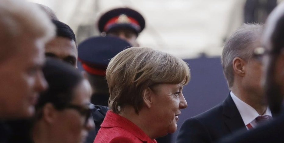 German Chancellor Angela Merkel arrives for an EU summit, in Valletta, Malta, Friday, Feb. 3, 2017. (AP Photo/Gregorio Borgia)
