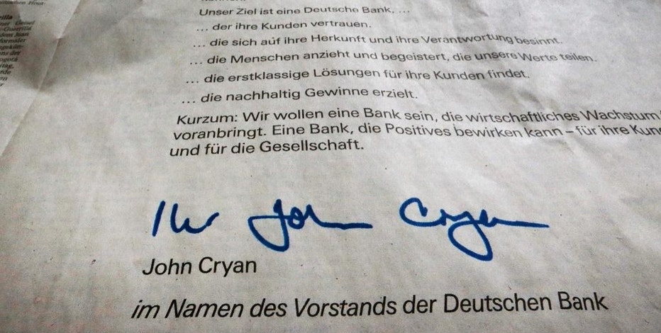 An apology for the bank's misbehaviours signed by the CEO of Deutsche Bank John Cryan is published as a newspaper ad in a big German paper in Frankfurt, Germany, Saturday, Feb. 4, 2017. (AP Photo/Michael Probst)