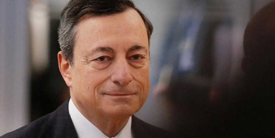 FILE - In this Jan. 19, 2017 file picture President of the European Central Bank, Mario Draghi , is on his way to a news conference after a meeting of the governing council in Frankfurt, Germany.   The head of the European Central Bank says  Monday Feb. 6, 2017 that its monetary stimulus efforts are still very much needed to support the continent's economic recovery — despite the recent spike in inflation in the countries that use the euro currency. (AP Photo/Michael Probst,file)