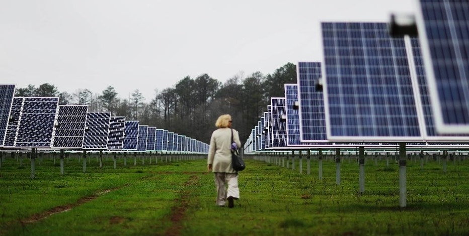 Solar panels line farmland that former President Jimmy Carter owns in his hometown of Plains, Ga., as a reporter walks through before a ribbon cutting ceremony Wednesday, Feb. 8, 2017. Carter leased the land to Atlanta-based SolAmerica Energy, which owns, operates, and sells power generated from solar cells. The company estimates the project will provide more than half of the power needed in this town of 755 people. (AP Photo/David Goldman)