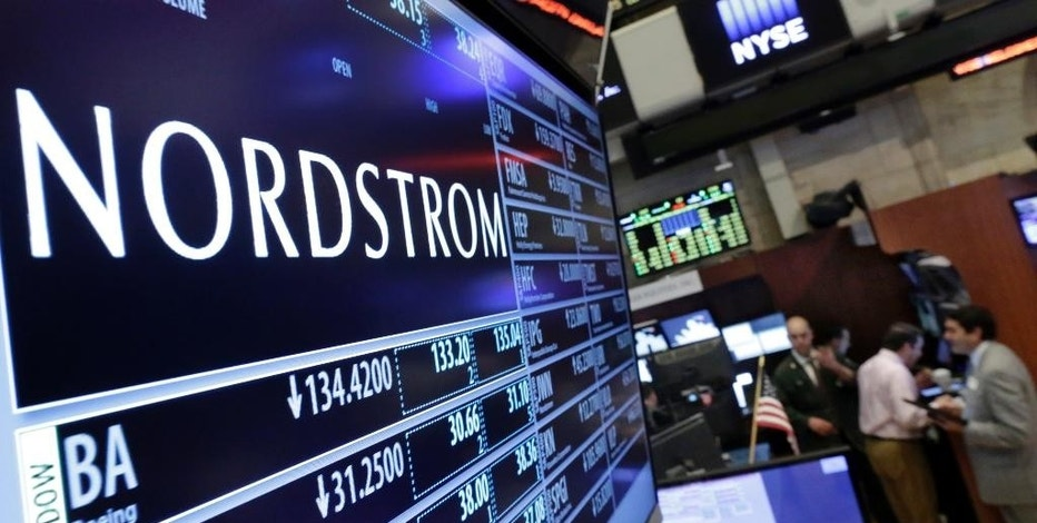 "FILE - In this May 13, 2016 file photo, the Nordstrom logo is displayed above the post where it trades on the floor of the New York Stock Exchange in New York. Nordstrom shares sunk after President Trump tweeted that the department store chain had treated his daughter Ivanka ""so unfairly"" when it announced last week that it would stop selling Ivanka Trump's clothing and accessory line.  (AP Photo/Richard Drew, File)"