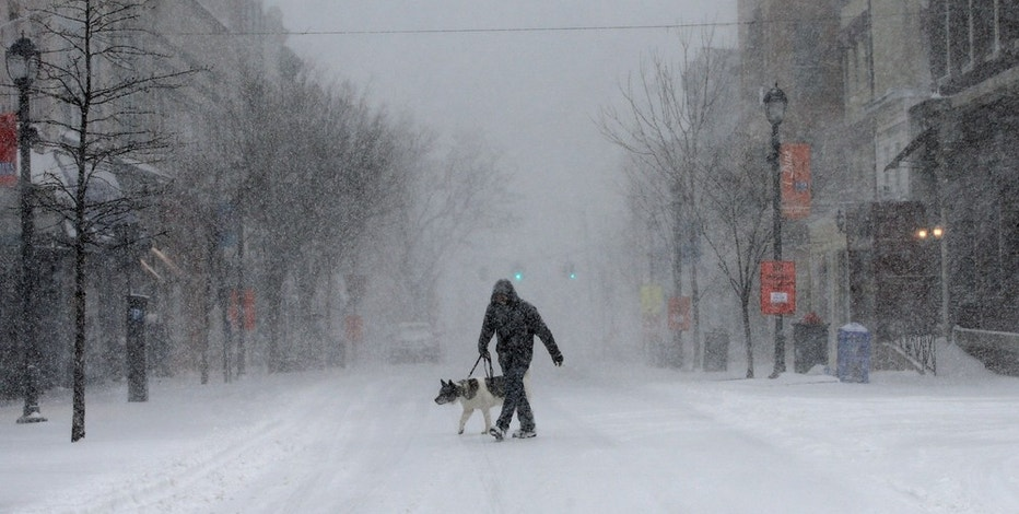 A man walks his dog in heavy falling snow on Main Street in the village of Nyack, New York, a suburb north of New York City, U.S., February 9, 2017. REUTERS/Mike Segar - RTX30AUU