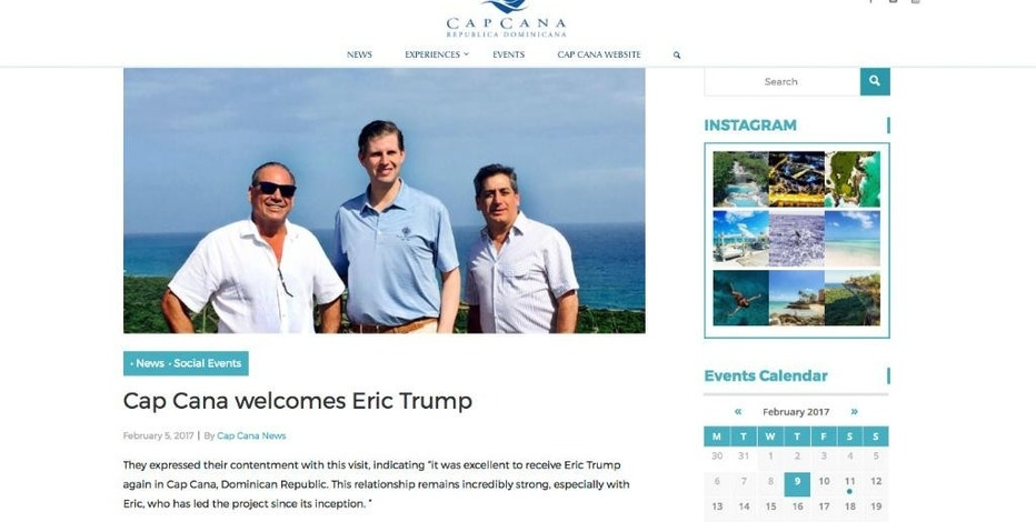 "This screen image from the capcana.com website shows an article about the recent visit by Eric Trump to the Dominican Republic. Eric Trump was photographed touring the Cap Cana resort Feb. 2, 2017, with brothers Ricardo and Fernando Hazoury. In a press release accompanying the photo, the Hazoury brothers called their relationship with Eric Trump ""incredibly strong."" The Trump Organization maintains that returning to a decade-old licensing agreement wouldn't violate President Trump's ethics pledge not to engage in new foreign deals. (capcana.com via AP)"