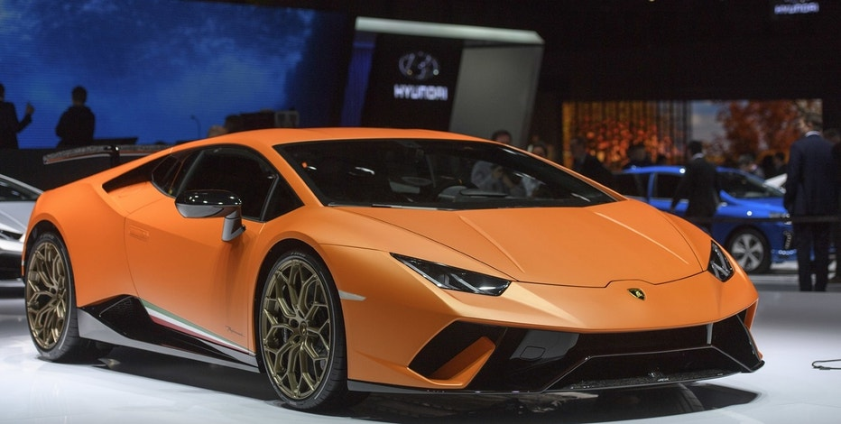 The new Lamborghini Huracan Performante is presented during the press day at the 87th Geneva International Motor Show in Geneva, Switzerland, Tuesday, March7, 2017. The Motor Show will open its gates to the public from March 9 to 19.