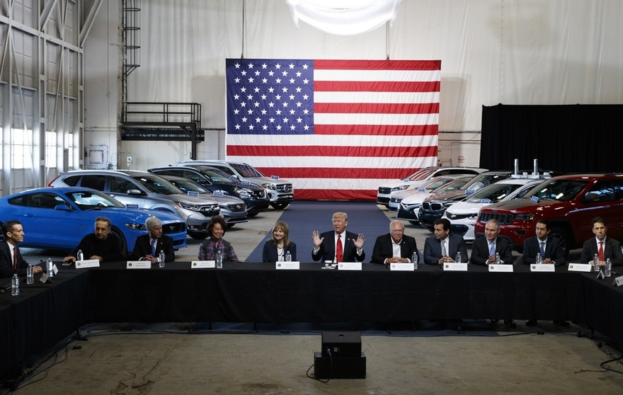 President Donald Trump hosts a roundtable discussion at the American Center of Mobility, Wednesday, March 15, 2017, in Ypsilanti Township, Mich. Moving forcefully against Obama-era environmental rules, the president is set to announce in Michigan plans to re-examine federal requirements that regulate the fuel efficiency of new cars and trucks.