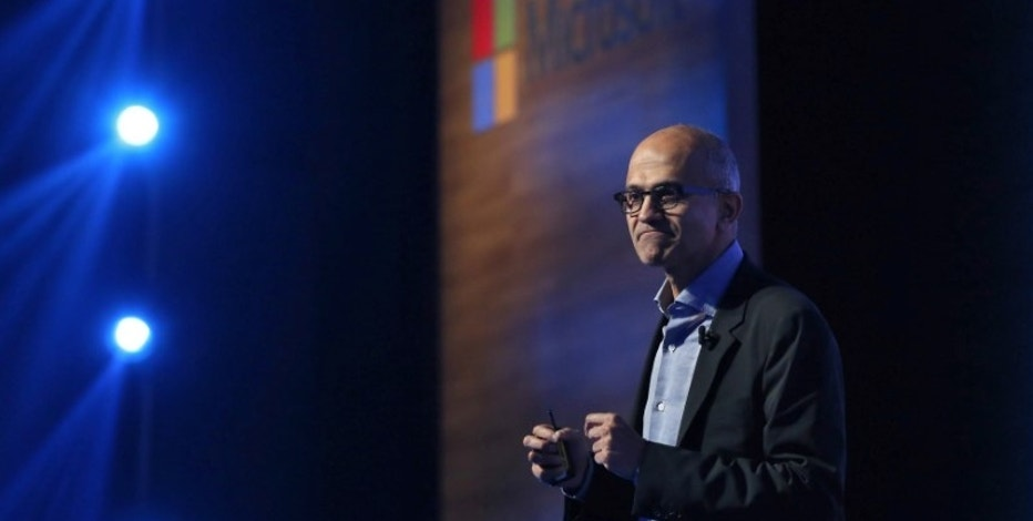 Microsoft CEO Satya Nadella speaks at the Future Decoded conference in Mumbai, India, February 22, 2017.  REUTERS/Shailesh Andrade