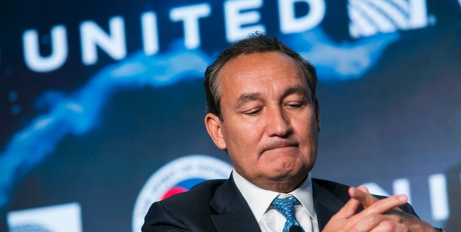 Oscar Munoz, Chief Executive Officer, United Airlines, speaks during the 2017 Aviation Summit hosted by the U.S. Chamber Of Commerce in Washington, D.C., on March 2, 2017. Photo By Kristoffer Tripplaar *** Please Use Credit from Credit Field ***(Sipa via AP Images)