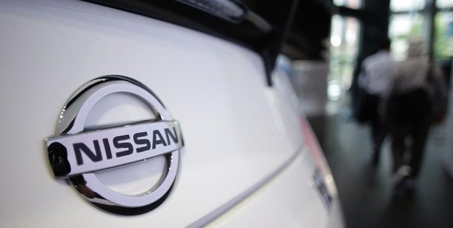 The emblem of a Nissan car is seen at its showroom in Tokyo Thursday, May 11, 2017. Japanese automaker Nissan Motor Co.'s fiscal year profit has improved 27 percent to 663.5 billion yen ($5.8 billion) as strong sales in the U.S., China and Europe offset damage from the strong yen. (AP Photo/Eugene Hoshiko)