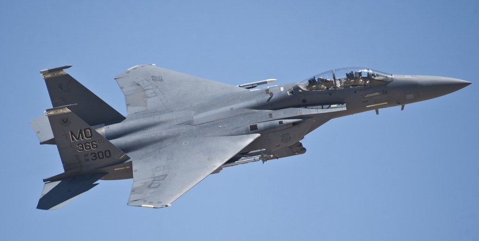 An F-15E Strike Eagle assigned to Mountain Home Air Force Base, Idaho, flies during a Red Flag 15-3 sortie at Nellis Air Force Base, Nev., July 13, 2015. The 366th Fighter Wing, assigned to Mountain Home AFB, is the lead wing of Red Flag 15-3 which is designed to provide a series of intense air-to-air combat scenarios for aircrew and ground personnel which will increase their combat readiness and effectiveness for future real-world missions.