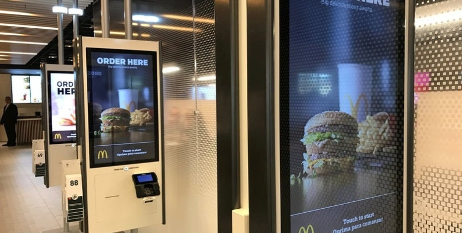 McDonald's self-service kiosks are seen in a prototype restaurant housed in a warehouse in Chicago's West Loop area, in Chicago, Illinois, U.S., March 1, 2017.  REUTERS/Lisa Baertlein