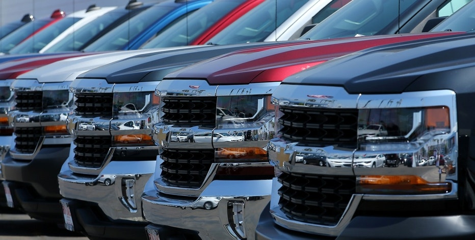 New trucks are shown for sale at a Chevrolet dealership in National City California U.S
