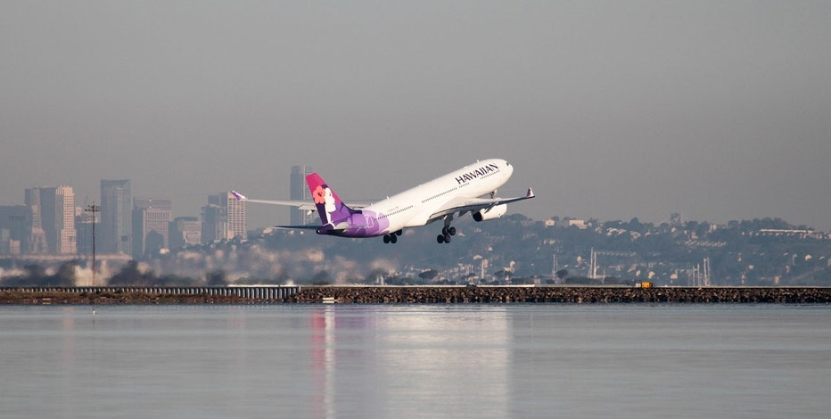 A Hawaiian Airlines Airbus A330-200 takes off at San Francisco International Airport, San Francisco, California, February 16, 2015.