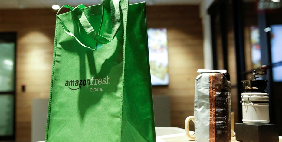 A display inside AmazonFresh Pickup, a service launched by Amazon.com Inc and currently open only to employees, is pictured in the Ballard neighborhood of Seattle, Washington, U.S. March 29, 2017.