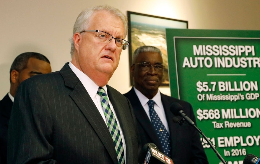 Scott Waller, interim president and CEO of the Mississippi Economic Council, the state's chamber of commerce, says the state could have a harder time attracting jobs if Nissan workers vote to join a union, at a news conference Thursday, July 20, 2017, in Jackson, Miss.