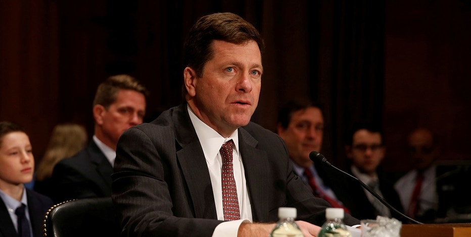 Jay Clayton testifies at a Senate Banking, Housing and Urban Affairs Committee hearing on his nomination of to be chairman of the Securities and Exchange Commission (SEC) on Capitol Hill in Washington, U.S. March 23, 2017.  REUTERS/Jonathan Ernst - RTX32DOK