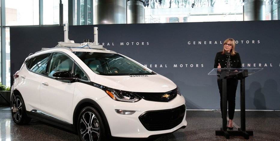 General Motors Chairman and CEO Mary Barra announces that Chevrolet will begin testing a fleet of Bolt autonomous vehicles in Michigan during a news conference in Detroit, Michigan, U.S., December 15, 2016.
