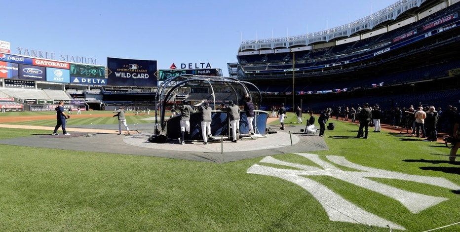The New York Yankees take batting practice during a workout at Yankees Stadium, Monday, Oct. 2, 2017, in New York.