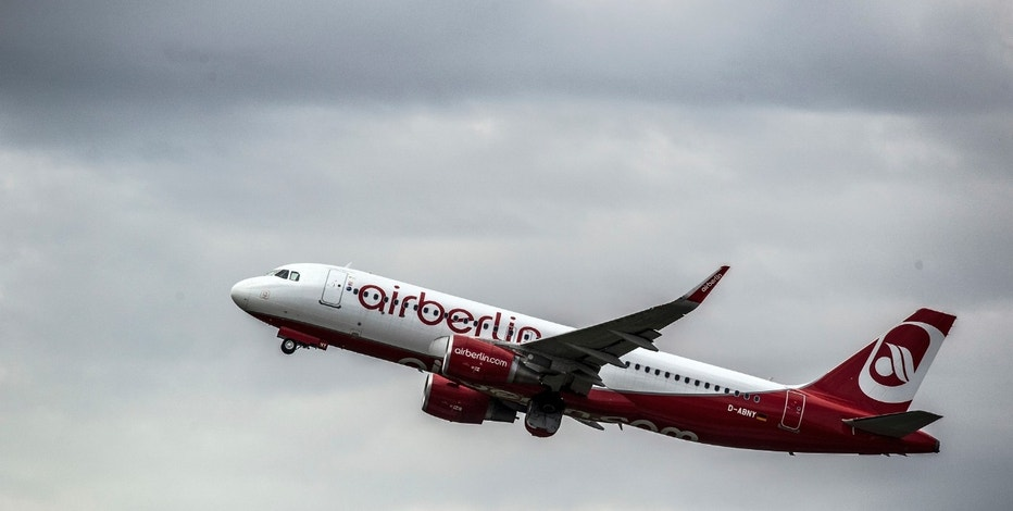 An Airbus of Air Berlin takes off in Duesseldorf, Germany, Tuesday, Aug. 15,  2017. (Federico Gambarini/dpa via AP)