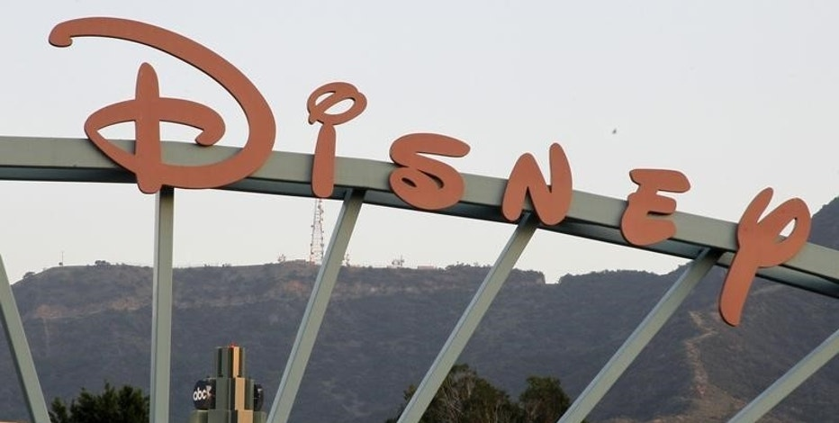 A part of the signage at the main gate of The Walt Disney Co. is pictured in Burbank, California, May 7, 2012. REUTERS/Fred Prouser