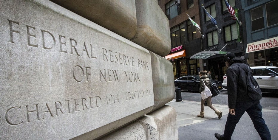 The corner stone of The New York Federal Reserve Bank is seen in New York's financial district March 25, 2015. The Federal Reserve should remain on track to raise interest rates later this year despite the U.S. economy's weak start to the year and a stock market sell-off this week, two Fed officials said on Thursday.