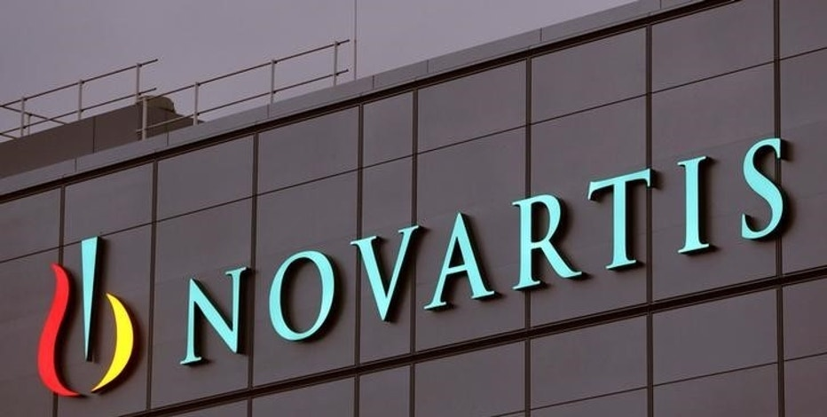 FILE PHOTO: Swiss drugmaker Novartis' logo is seen at the company's plant in the northern Swiss town of Stein, Switzerland October 23, 2017.   REUTERS/Arnd Wiegmann