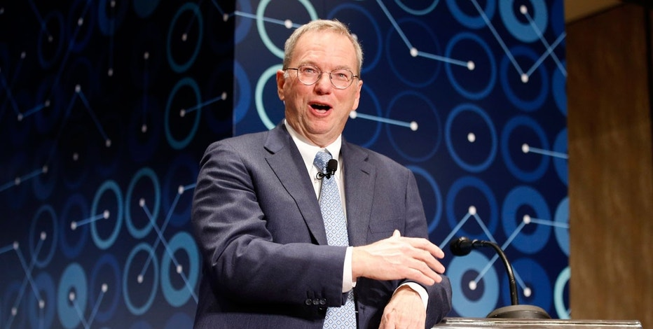 In this March 8, 2016, file photo, Eric Schmidt, executive chairman of Alphabet speaks during a press conference ahead of the Google DeepMind Challenge Match in Seoul, South Korea. Schmidt is stepping down as the executive chairman of Google parent Alphabet in January 2018.