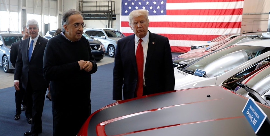 U.S. President Donald Trump tours new cars with auto industry leaders, including Fiat Chrysler CEO Sergio Marchionne (L), at the American Center for Mobility, a test facility for driverless car technology for American Manufactured Vehicles in Ypsilanti Township, Michigan, U.S. March 15, 2017.