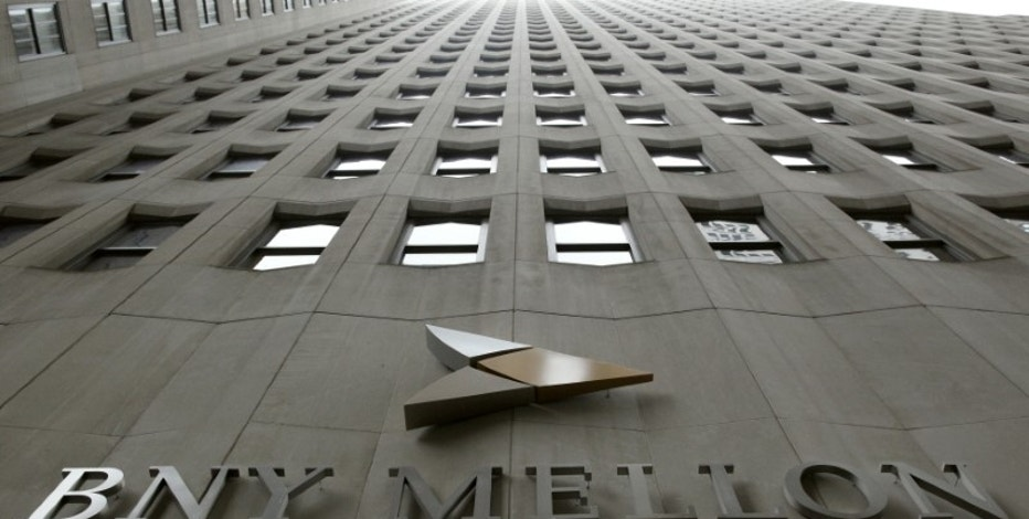 A BNY Mellon sign is seen on their headquarters in New York's financial district