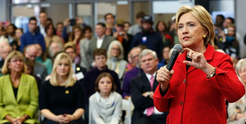 Democratic presidential candidate Hillary Rodham Clinton speaks during a campaign stop at the Manchester Community College,  Monday, Oct. 5, 2015, in Manchester, N.H. (AP Photo/Jim Cole)