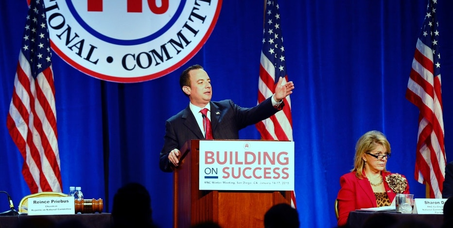 Republican National Committee Chairman Reince Priebus speaks at the Republican National Convention winter meetings in San Diego, California January 16, 2015.